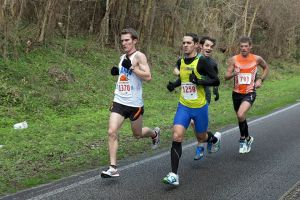 The lead pack at Newnan's Lake 15K, 2014