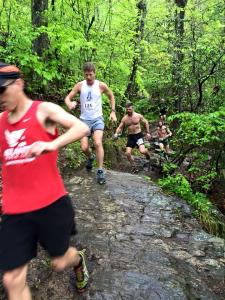 Early in the race. Steve in the red Atlanta TC short and me in the white shirt just behind him.
