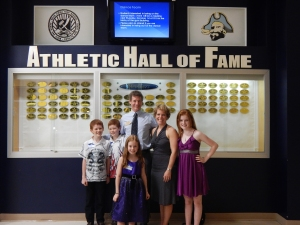 My family in front of the Hall of Fame display at the Boca Ciega High School Gym